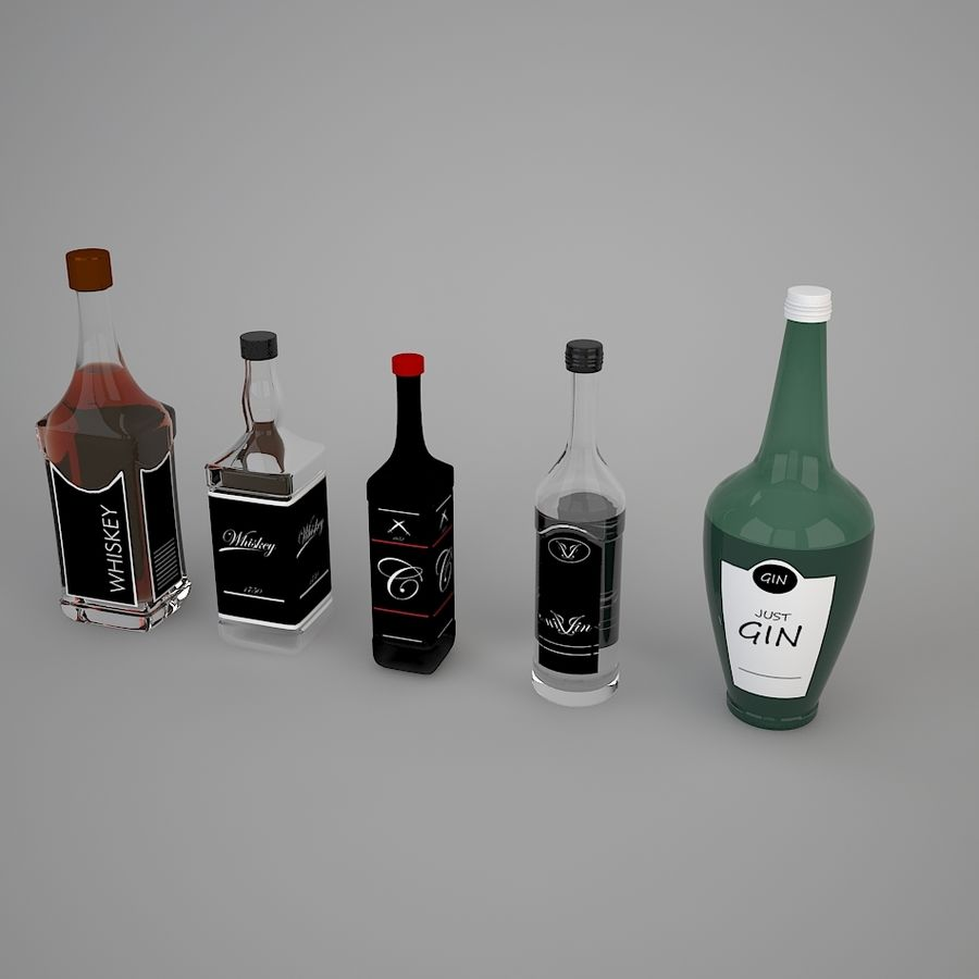 Alcohol bottles royalty-free 3d model - Preview no. 3