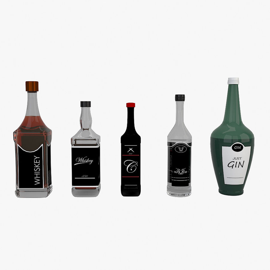 Alcohol bottles royalty-free 3d model - Preview no. 1