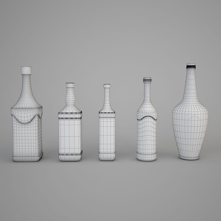Alcohol bottles royalty-free 3d model - Preview no. 4