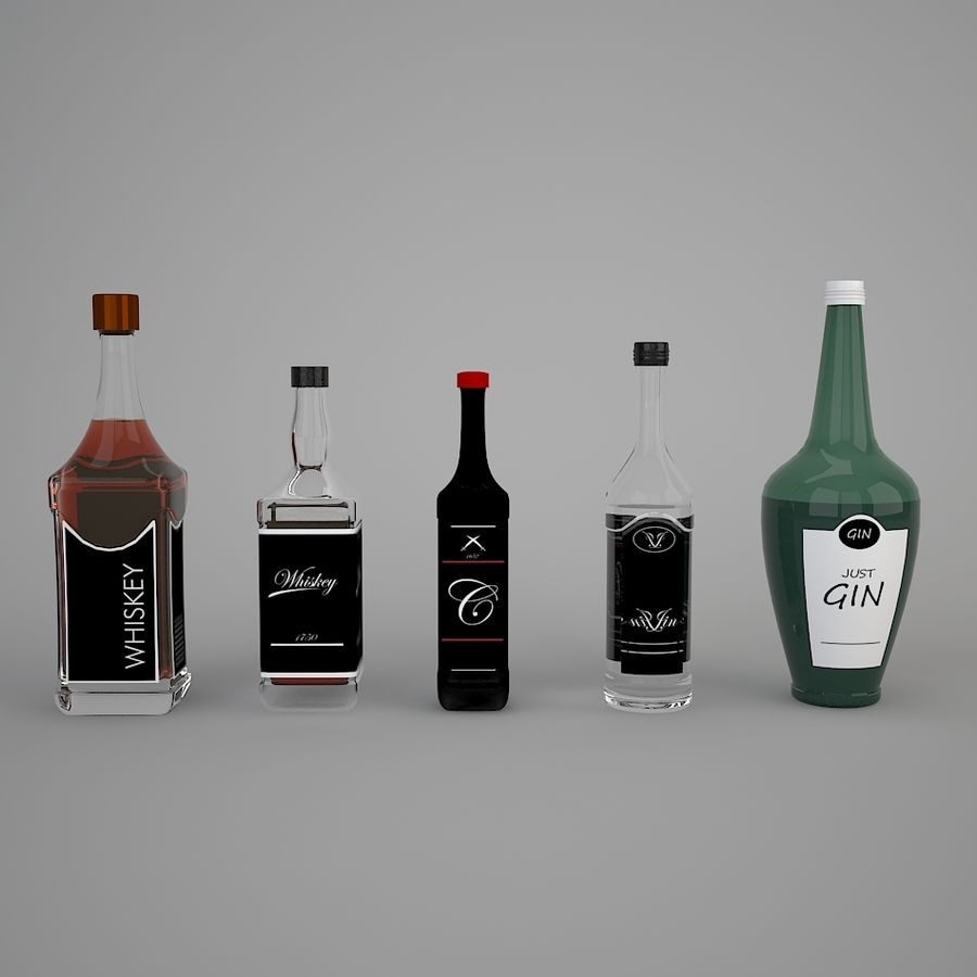 Alcohol bottles royalty-free 3d model - Preview no. 2