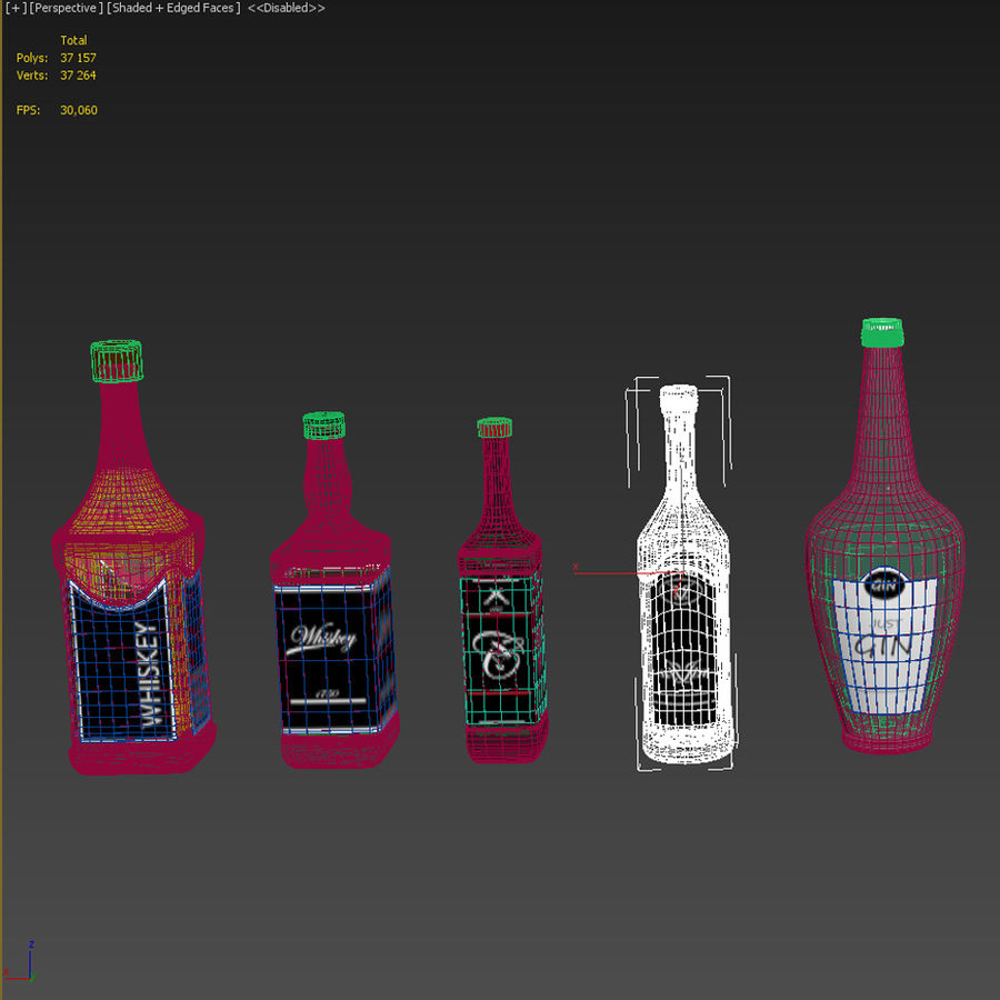 Alcohol bottles royalty-free 3d model - Preview no. 6