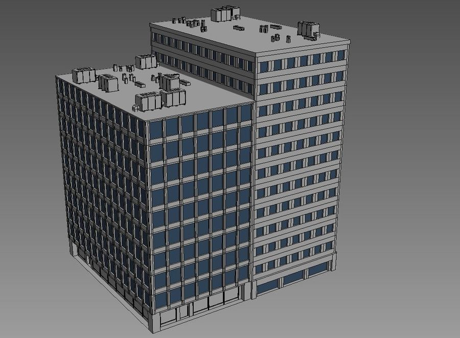 Budynek biurowy 09 royalty-free 3d model - Preview no. 4