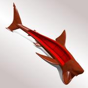 Great White Shark Sofa Light Wood 3d model