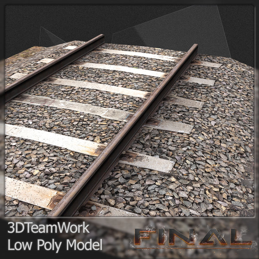 Tren Rail V01 TD Low Poly royalty-free modelo 3d - Preview no. 2