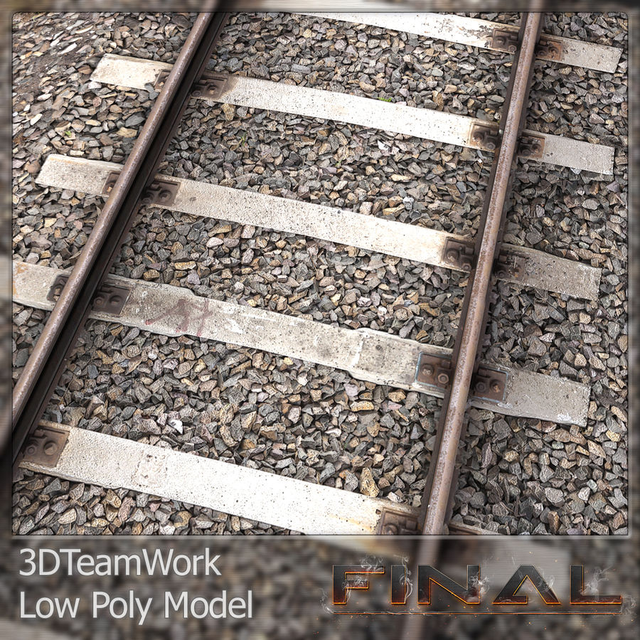 Tren Rail V01 TD Low Poly royalty-free modelo 3d - Preview no. 3