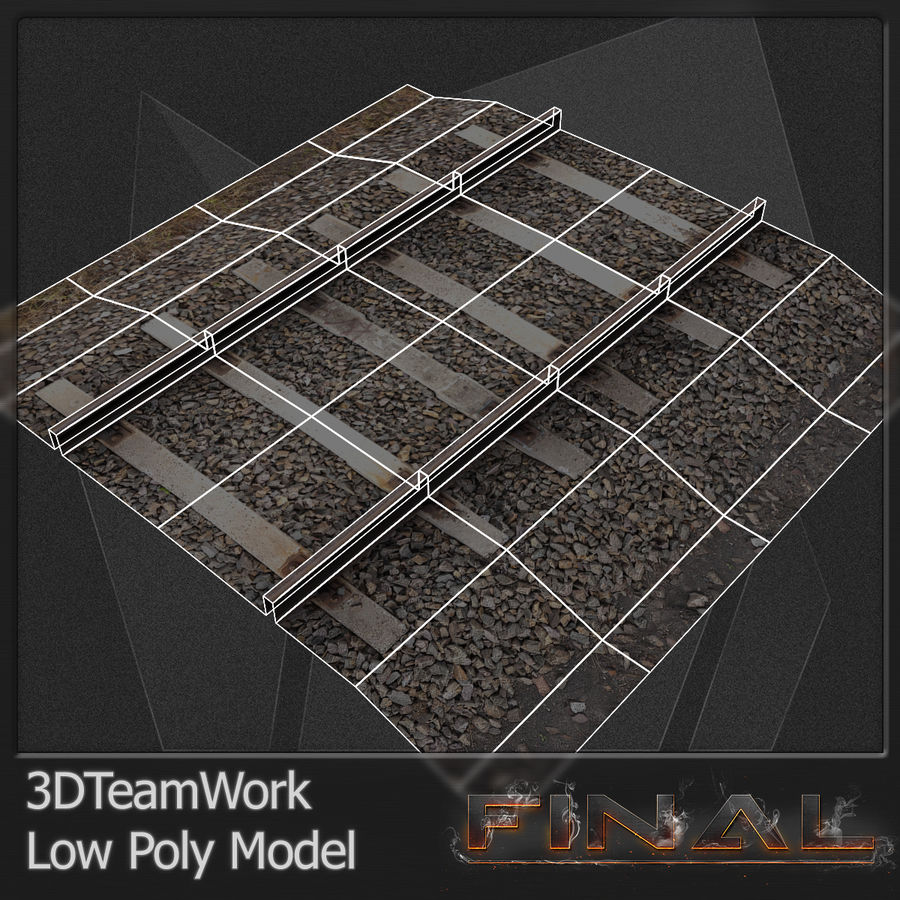 Tren Rail V01 TD Low Poly royalty-free modelo 3d - Preview no. 5
