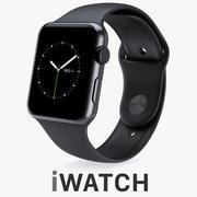 Apple Watch 42mm Space Черный корпус из нержавеющей стали с черным спортивным ремешком 3d model