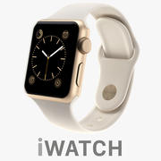 Apple iWatch 38mm Gold Aluminum Case with Antique White Sport Band 3d model