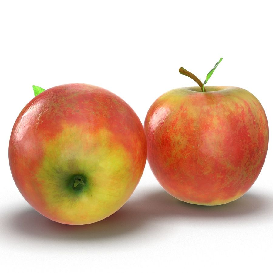 Apple Fruit With Green Leaf royalty-free 3d model - Preview no. 6