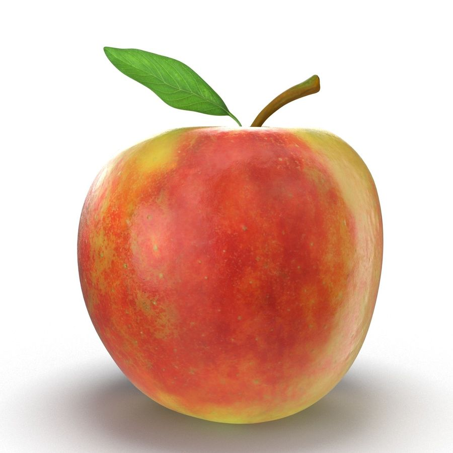 Apple Fruit With Green Leaf royalty-free 3d model - Preview no. 12