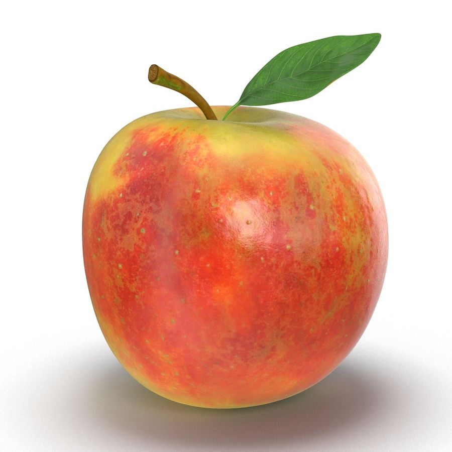 Apple Fruit With Green Leaf royalty-free 3d model - Preview no. 2