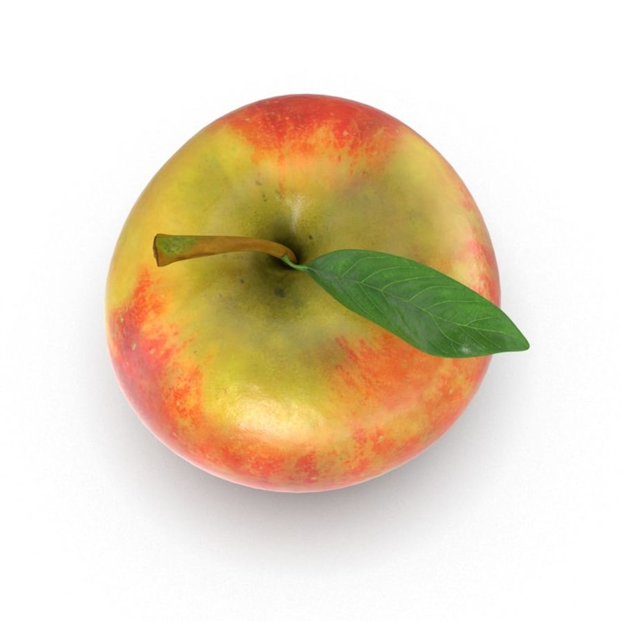 Apple Fruit With Green Leaf royalty-free 3d model - Preview no. 13