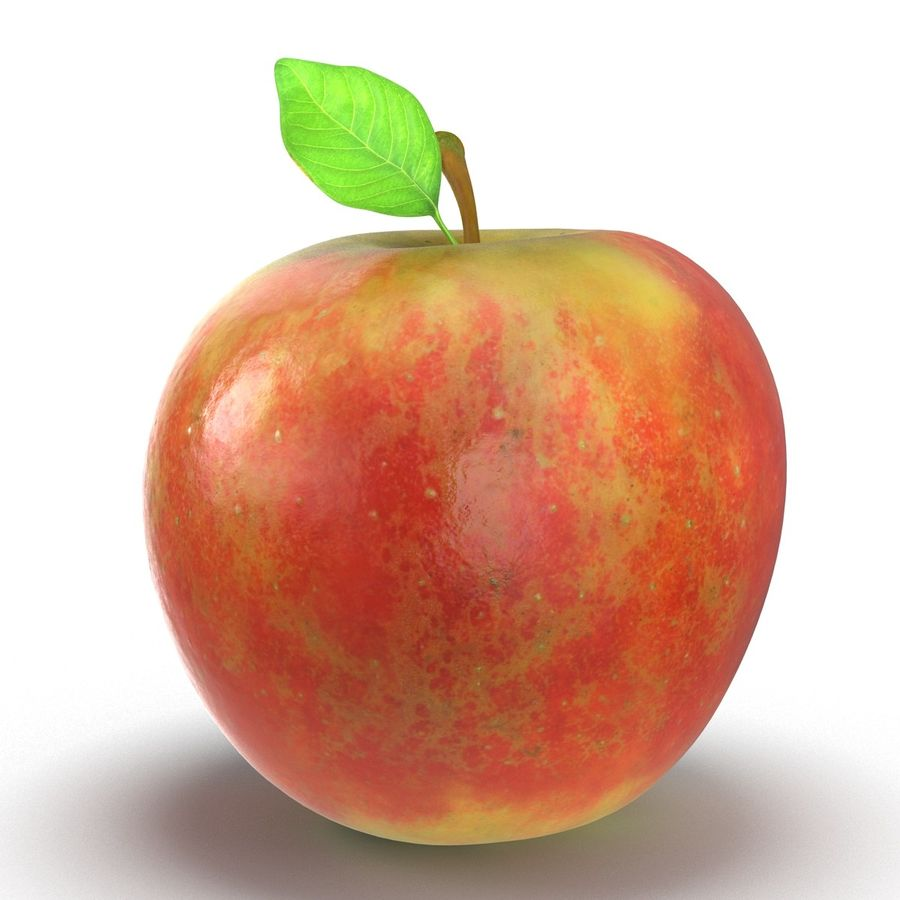 Apple Fruit With Green Leaf royalty-free 3d model - Preview no. 11