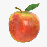 Apple frukt med grönt blad 3d model