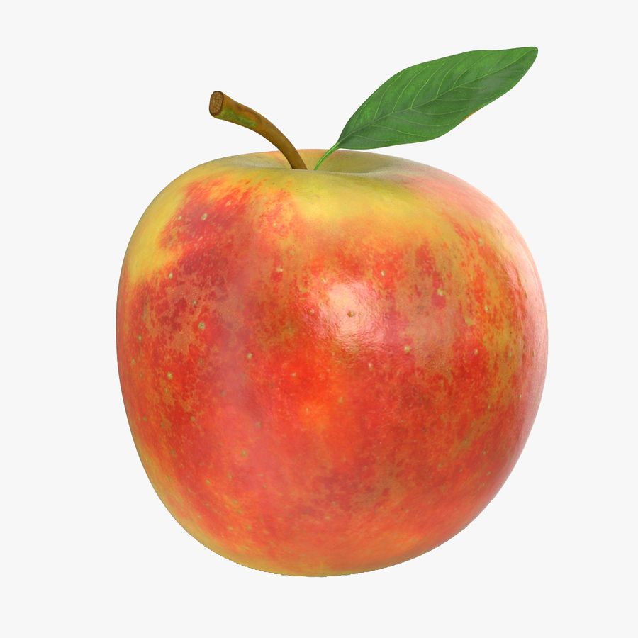 Apple Fruit With Green Leaf royalty-free 3d model - Preview no. 1