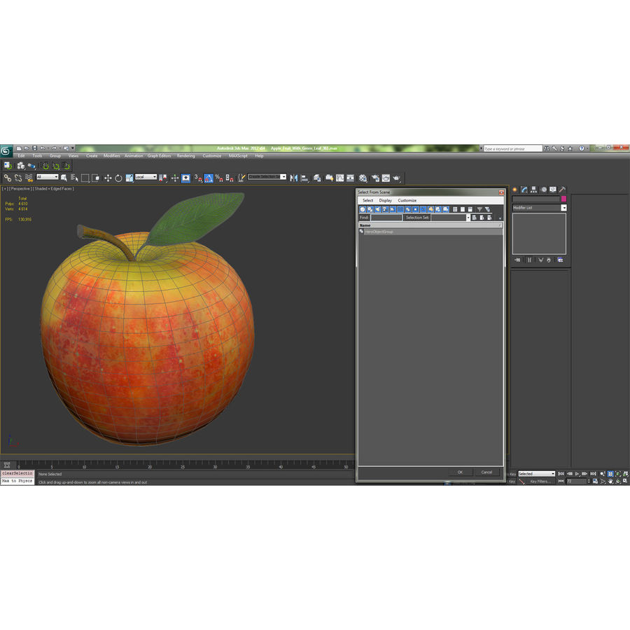 Apple Fruit With Green Leaf royalty-free 3d model - Preview no. 21