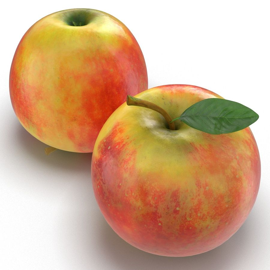 Apple Fruit With Green Leaf royalty-free 3d model - Preview no. 7