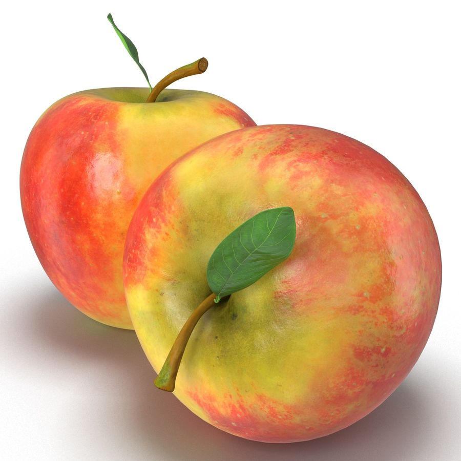 Apple Fruit With Green Leaf royalty-free 3d model - Preview no. 5