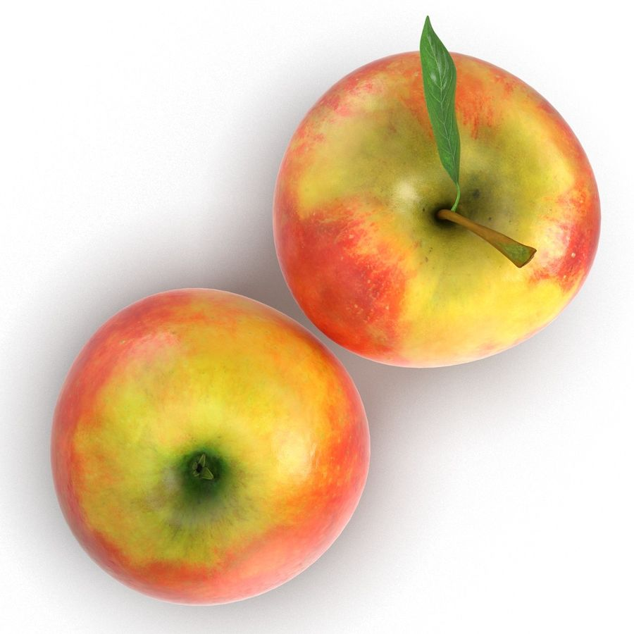 Apple Fruit With Green Leaf royalty-free 3d model - Preview no. 10
