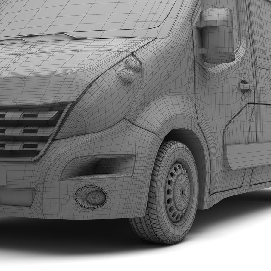 Renault Master Minibus 2015 royalty-free 3d model - Preview no. 8