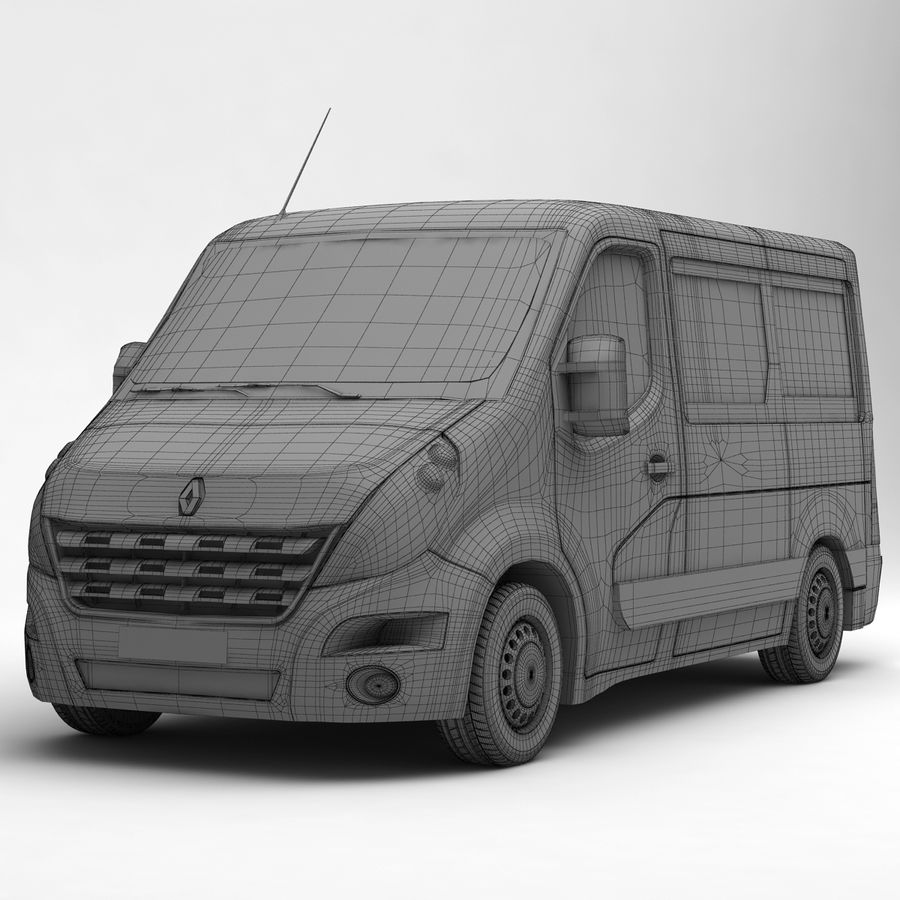 Renault Master Minibus 2015 royalty-free 3d model - Preview no. 7