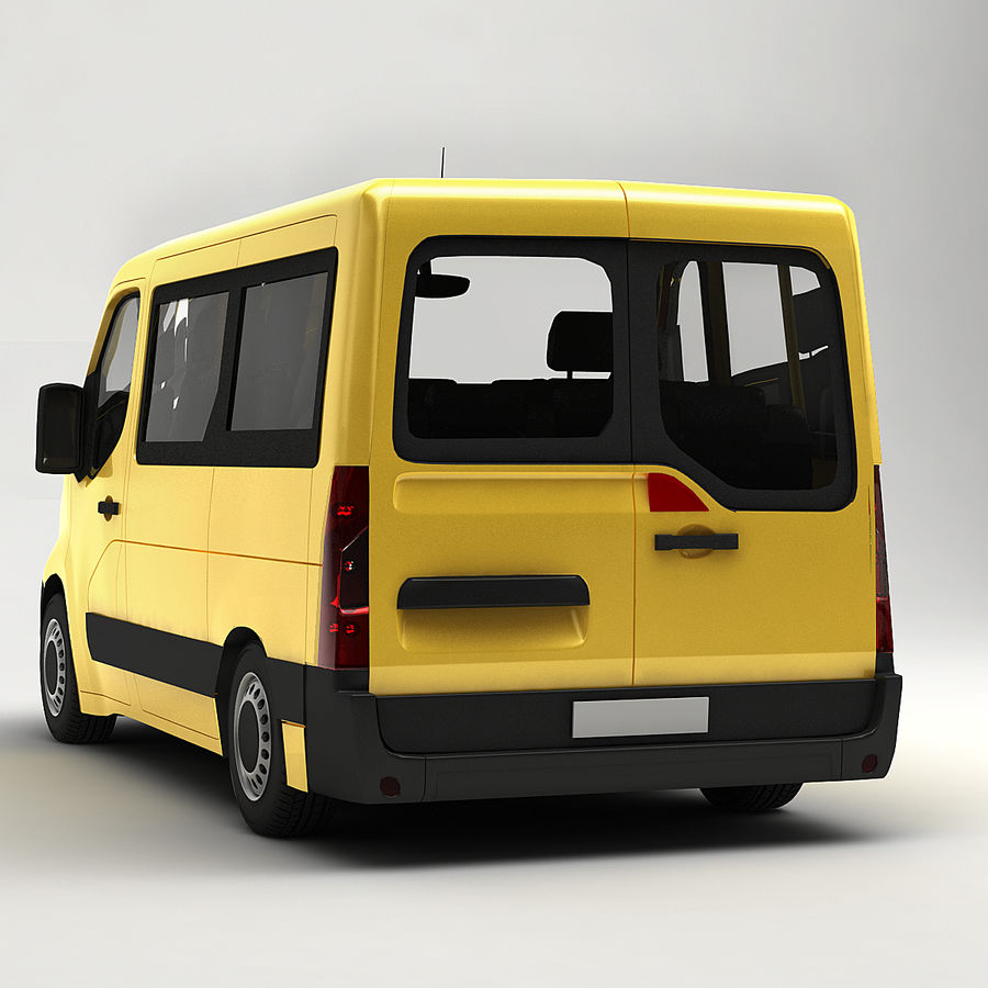 Renault Master Minibus 2015 royalty-free 3d model - Preview no. 5