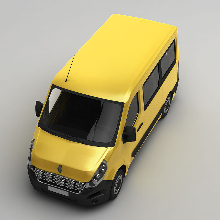 Renault Master Minibus 2015 royalty-free 3d model - Preview no. 3