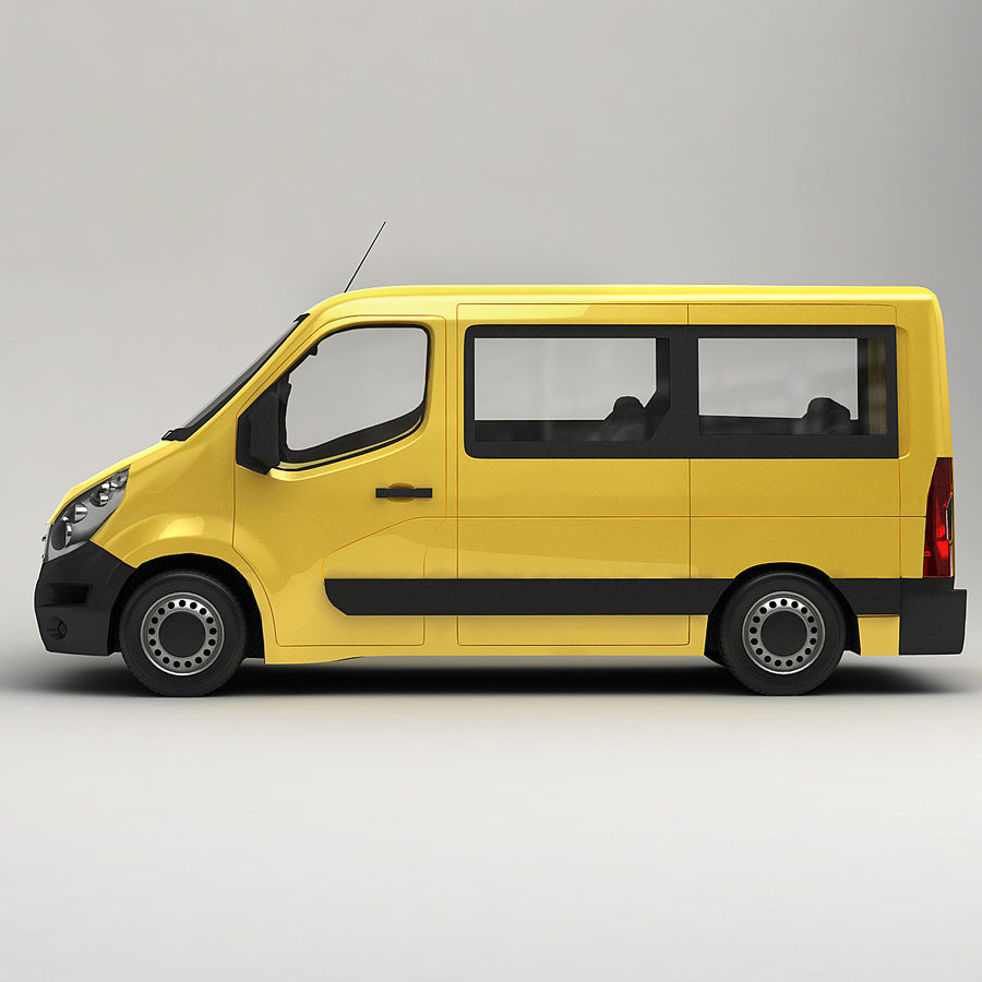 Renault Master Minibus 2015 royalty-free 3d model - Preview no. 4