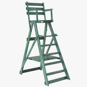 클래식 심판 의자 녹색 3d model