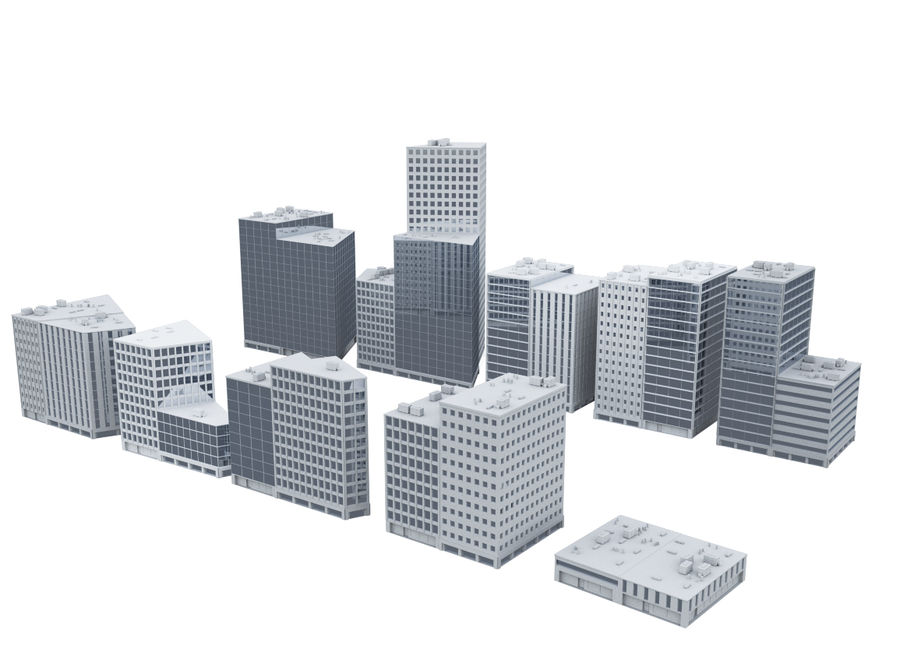 City block royalty-free 3d model - Preview no. 2