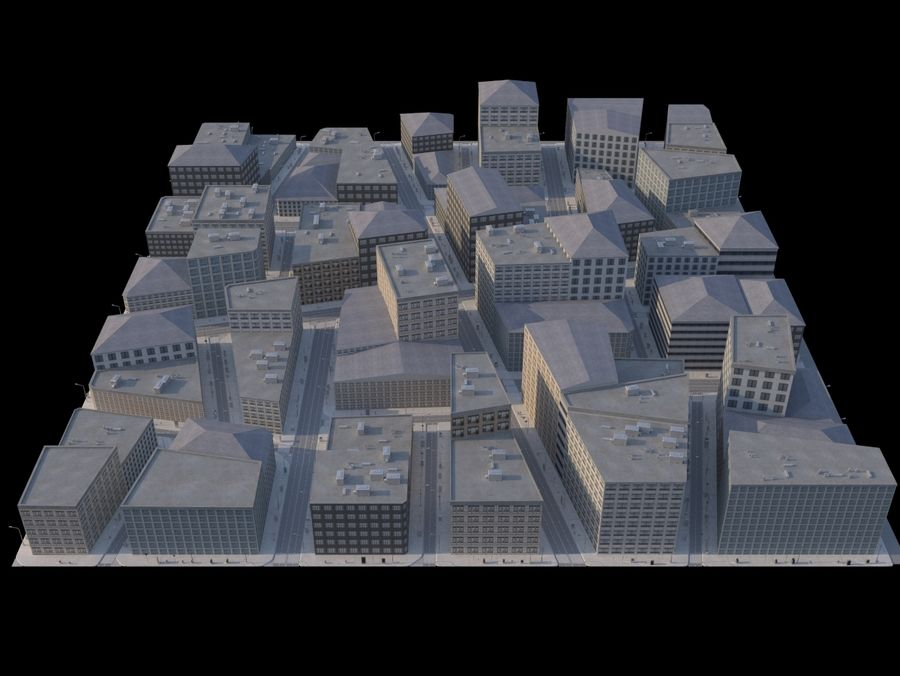 City low poly royalty-free 3d model - Preview no. 4