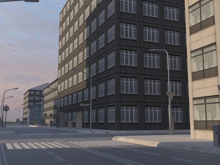 City low poly royalty-free 3d model - Preview no. 8