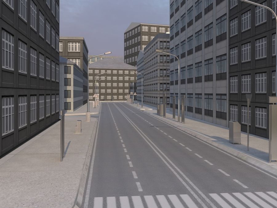 City low poly royalty-free 3d model - Preview no. 2