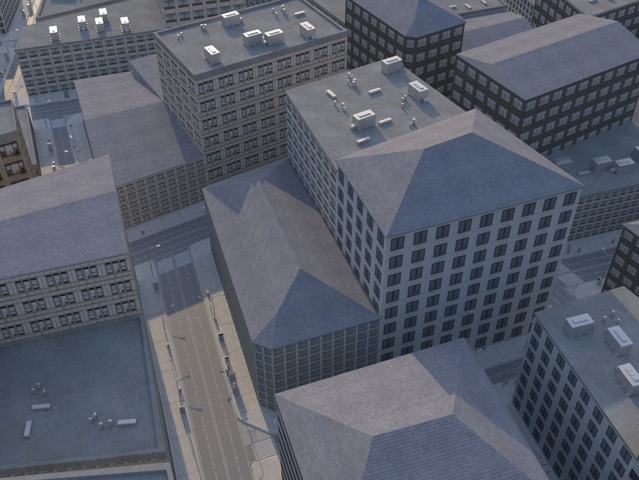 City low poly royalty-free 3d model - Preview no. 1