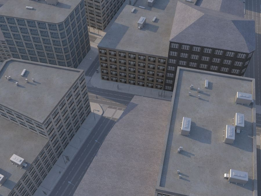 City low poly royalty-free 3d model - Preview no. 6