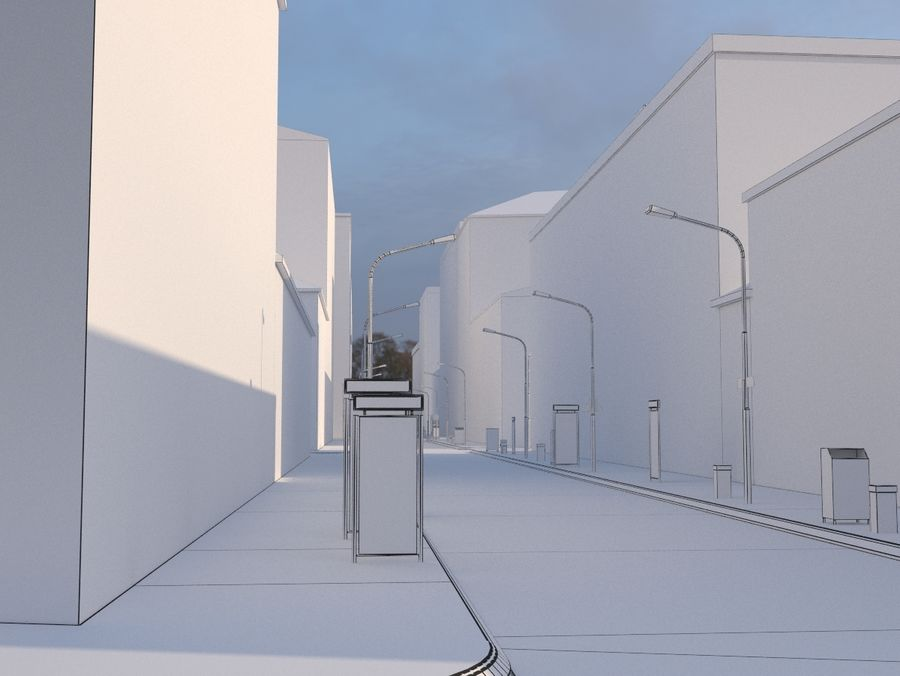 City low poly royalty-free 3d model - Preview no. 16