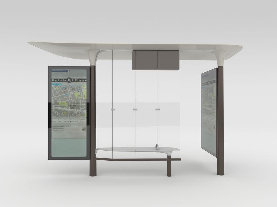 New Paris Bus Stop Abribus royalty-free 3d model - Preview no. 3