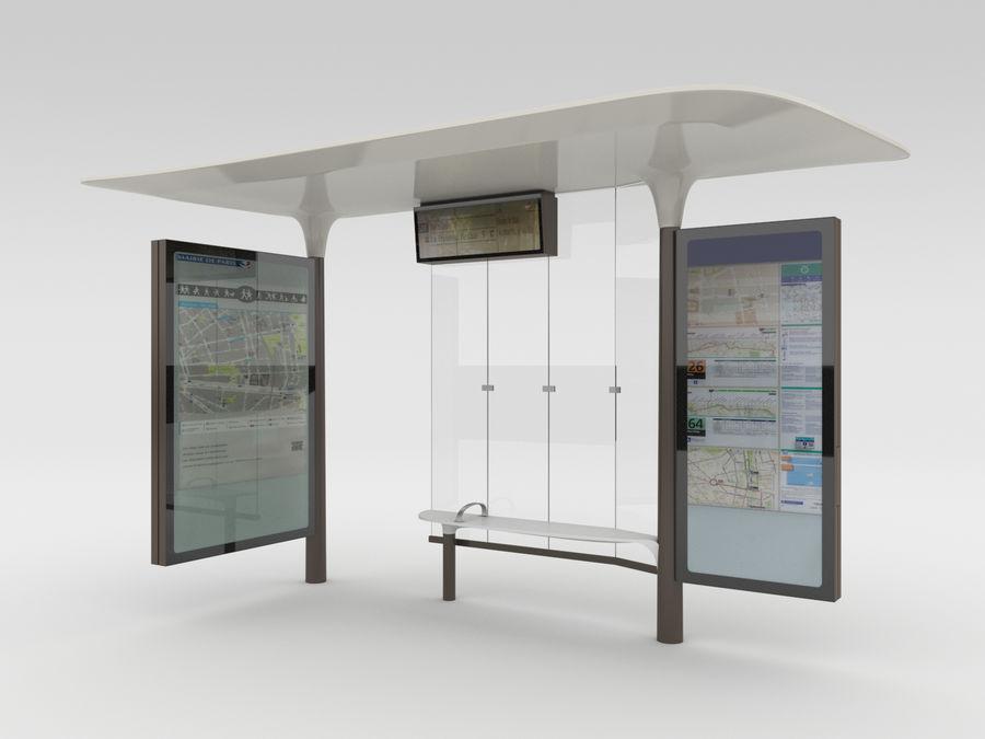 New Paris Bus Stop Abribus royalty-free 3d model - Preview no. 1