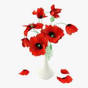 赤いケシの花束 3d model
