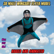 3D Wingsuit Model męskiej ulotki Rigged Animated 3d model