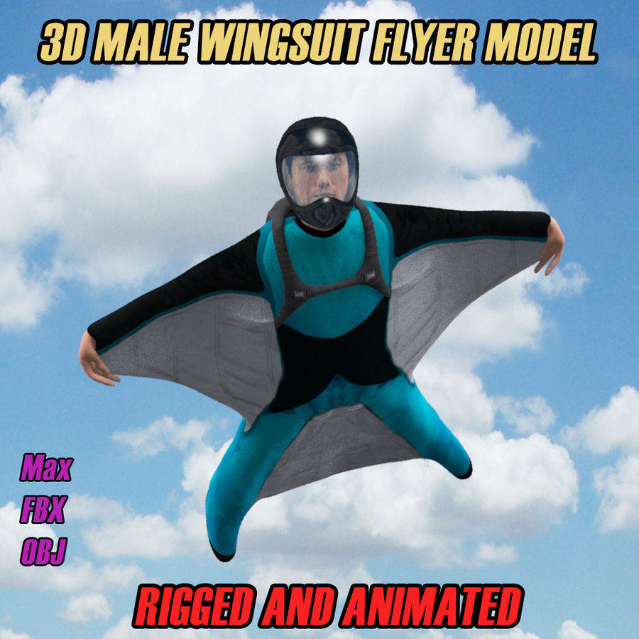 3D Wingsuit Male Flyer Model Rigged Animated royalty-free 3d model - Preview no. 1