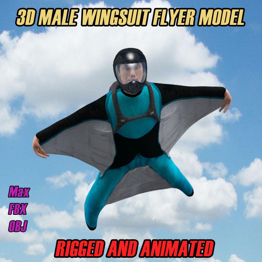 3D Wingsuit Mannelijke Flyer Model Rigged Animated royalty-free 3d model - Preview no. 1
