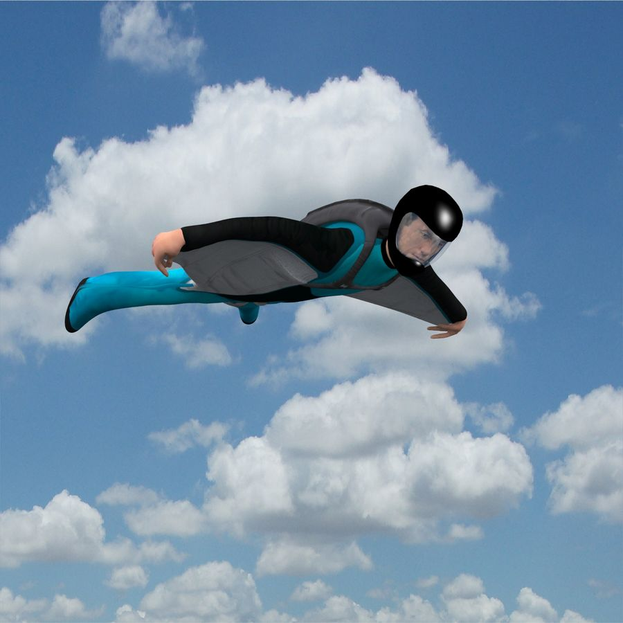 3D Wingsuit Mannelijke Flyer Model Rigged Animated royalty-free 3d model - Preview no. 2