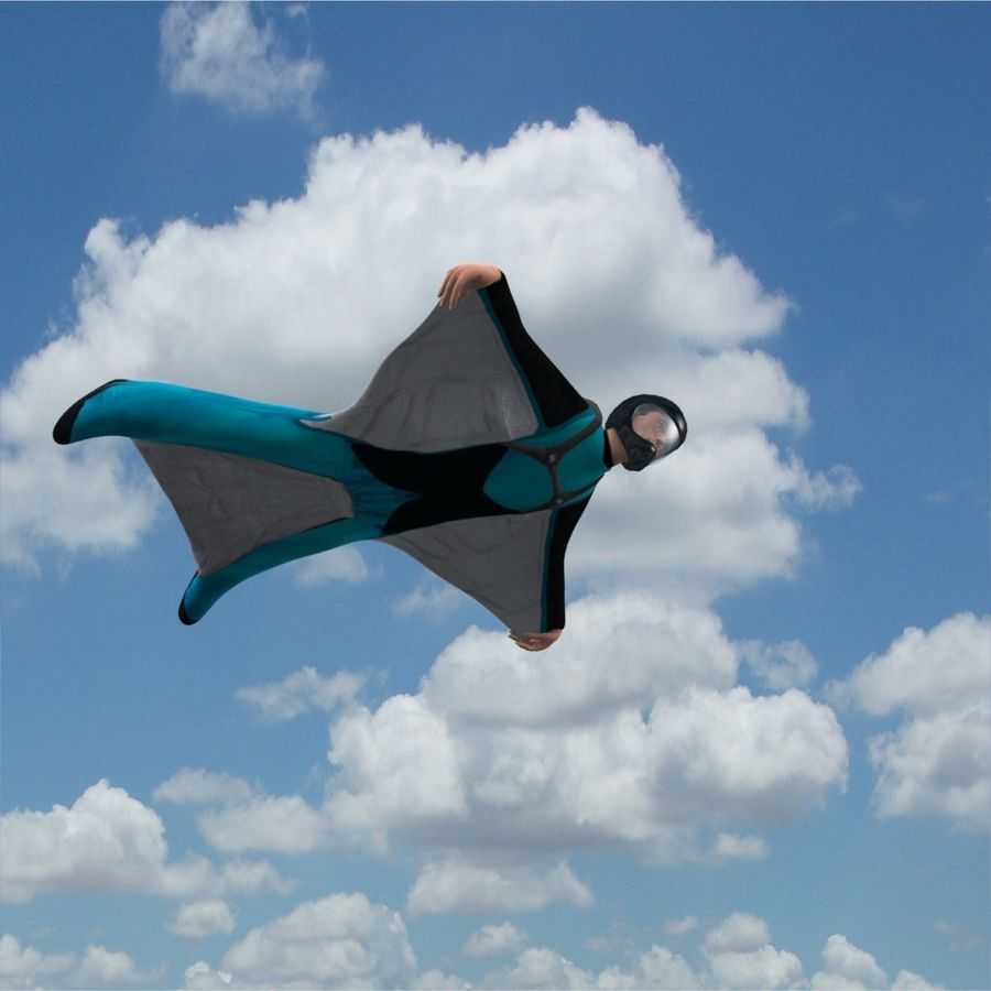 3D Wingsuit Male Flyer Model Rigged Animated royalty-free 3d model - Preview no. 5