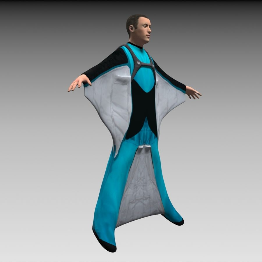 3D Wingsuit Male Flyer Model Rigged Animated royalty-free 3d model - Preview no. 6