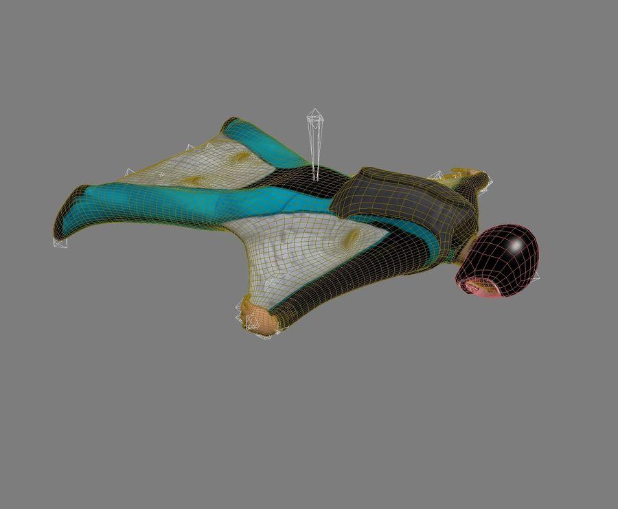 3D Wingsuit Mannelijke Flyer Model Rigged Animated royalty-free 3d model - Preview no. 12