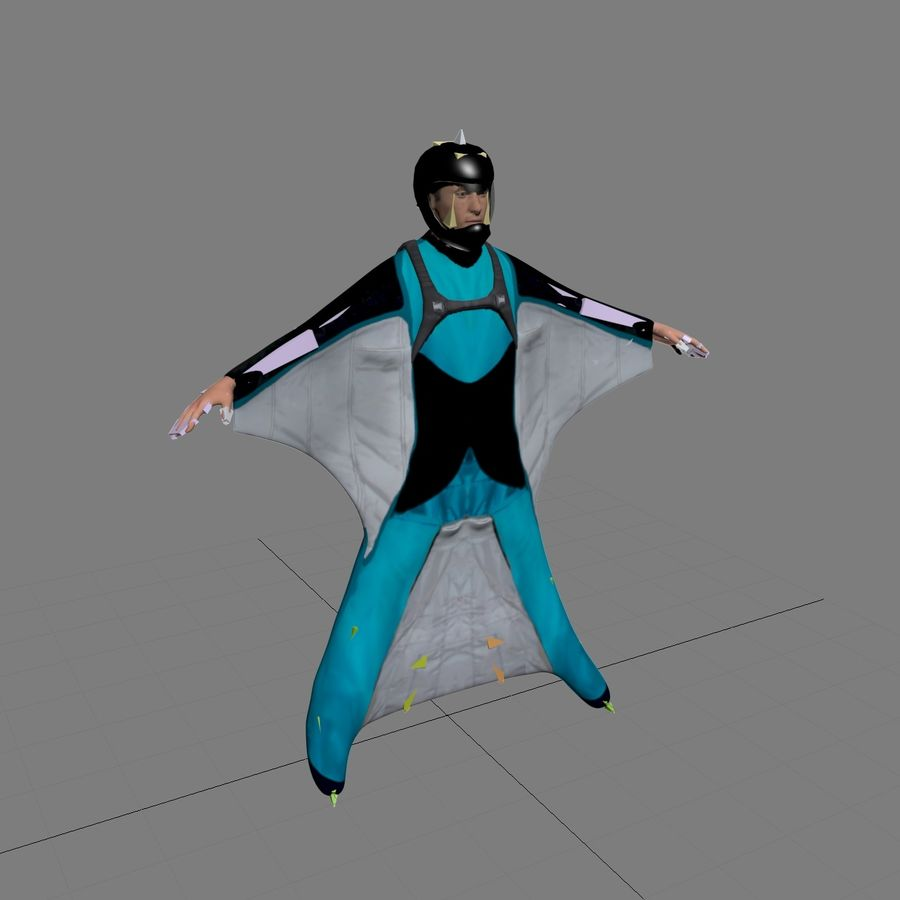 3D Wingsuit Male Flyer Model Rigged Animated royalty-free 3d model - Preview no. 9