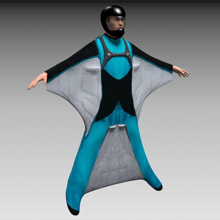 3D Wingsuit Male Flyer Model Rigged Animated royalty-free 3d model - Preview no. 3