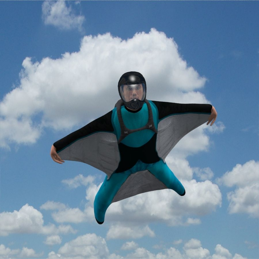 3D Wingsuit Male Flyer Model Rigged Animated royalty-free 3d model - Preview no. 8
