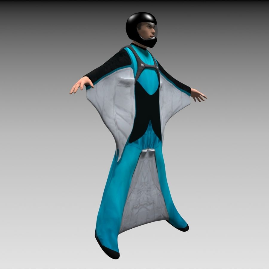 3D Wingsuit Male Flyer Model Rigged Animated royalty-free 3d model - Preview no. 7